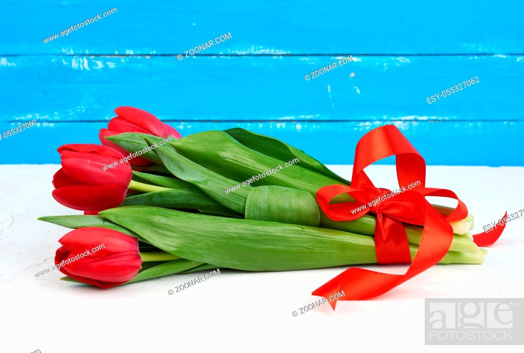 Stock Photo: bouquet of red blooming tulips with green stems and leaves tied with a red silk ribbon, flowers lie on a blue wooden background, top view.