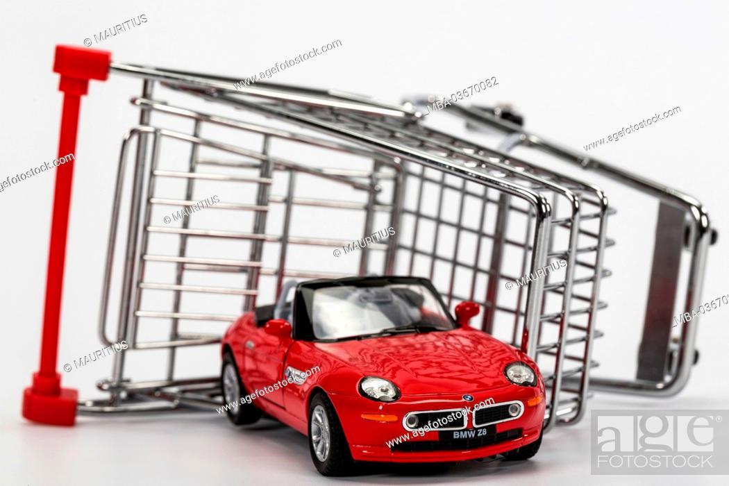 Shopping Trolley Overturned Model Car Bmw Z8 Symbol Car