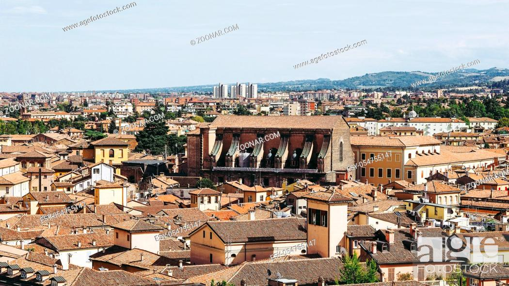 Stock Photo: Aerial view of the city of Bologna, Italy.