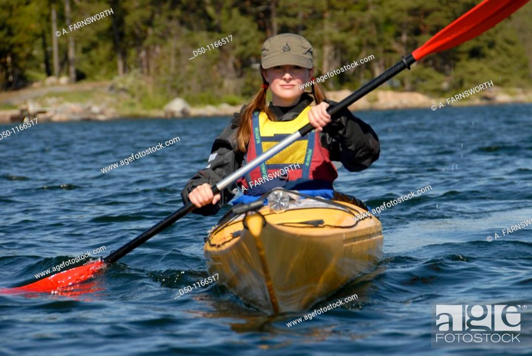 Stock Photo: Kayaking in the outer archipelago, Stockholm, Sweden.