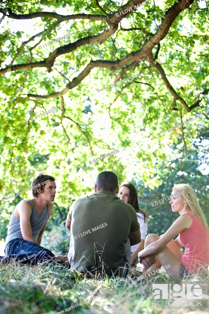Stock Photo: Four friends sitting on the grass.