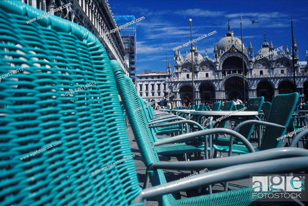 Stock Photo: Chairs in front of a cathedral, St. Mark's Cathedral, Venice, Veneto, Italy.