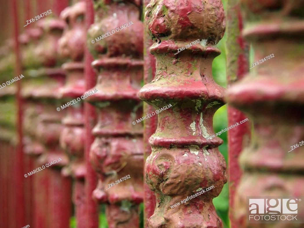 Stock Photo: Ornamental fence. Arredondo village. Cantabria autonomous community. Spain.