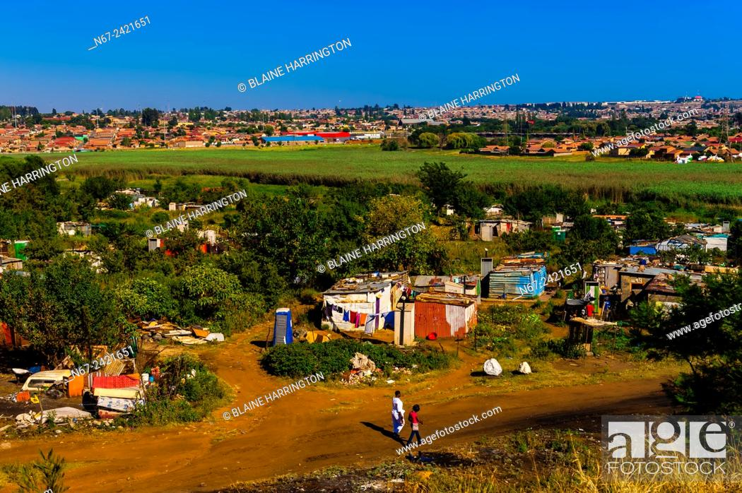 Stock Photo: A shanty town, Soweto South Western Townships, Johannesburg, South Africa.