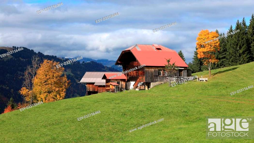 Stock Photo: Autumn scene in the Bernese Oberland.
