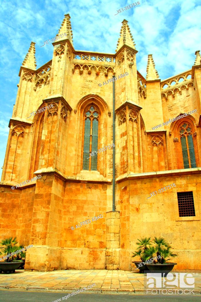 Stock Photo: side facade, Cathedral of Santa Tecla, Tarragona, Catalonia, Spain.