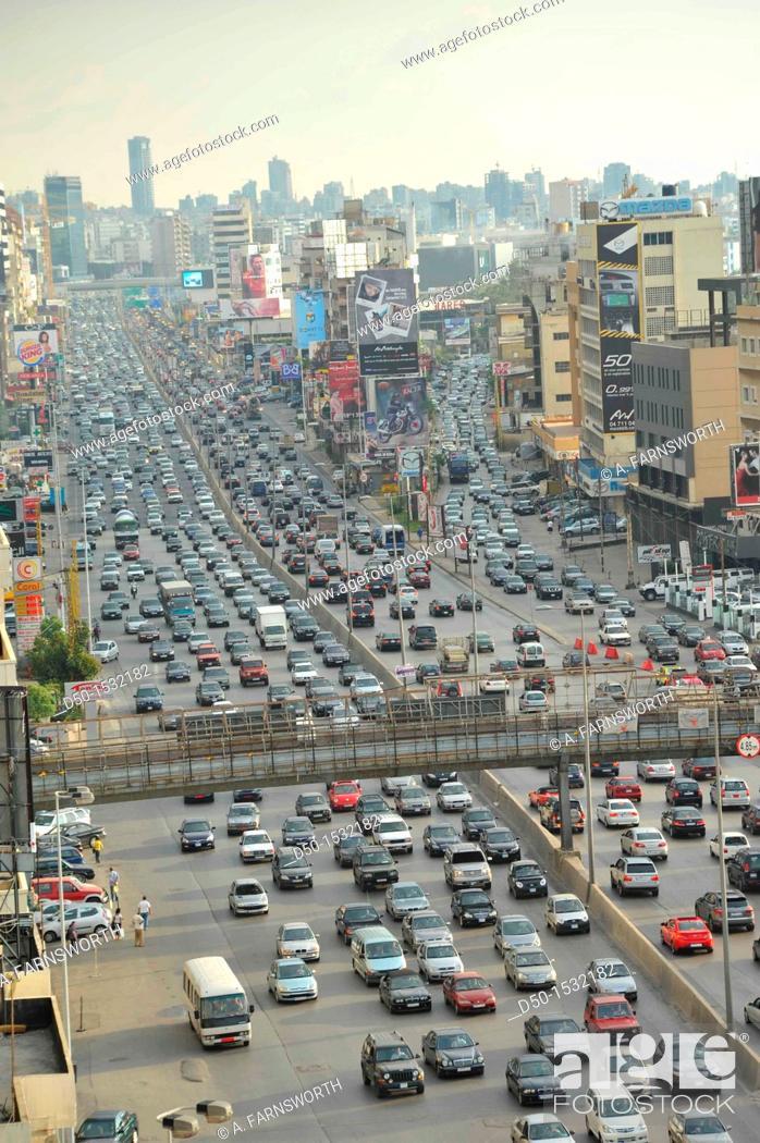 Stock Photo: BEIRUT LEBANON Traffic and smog.