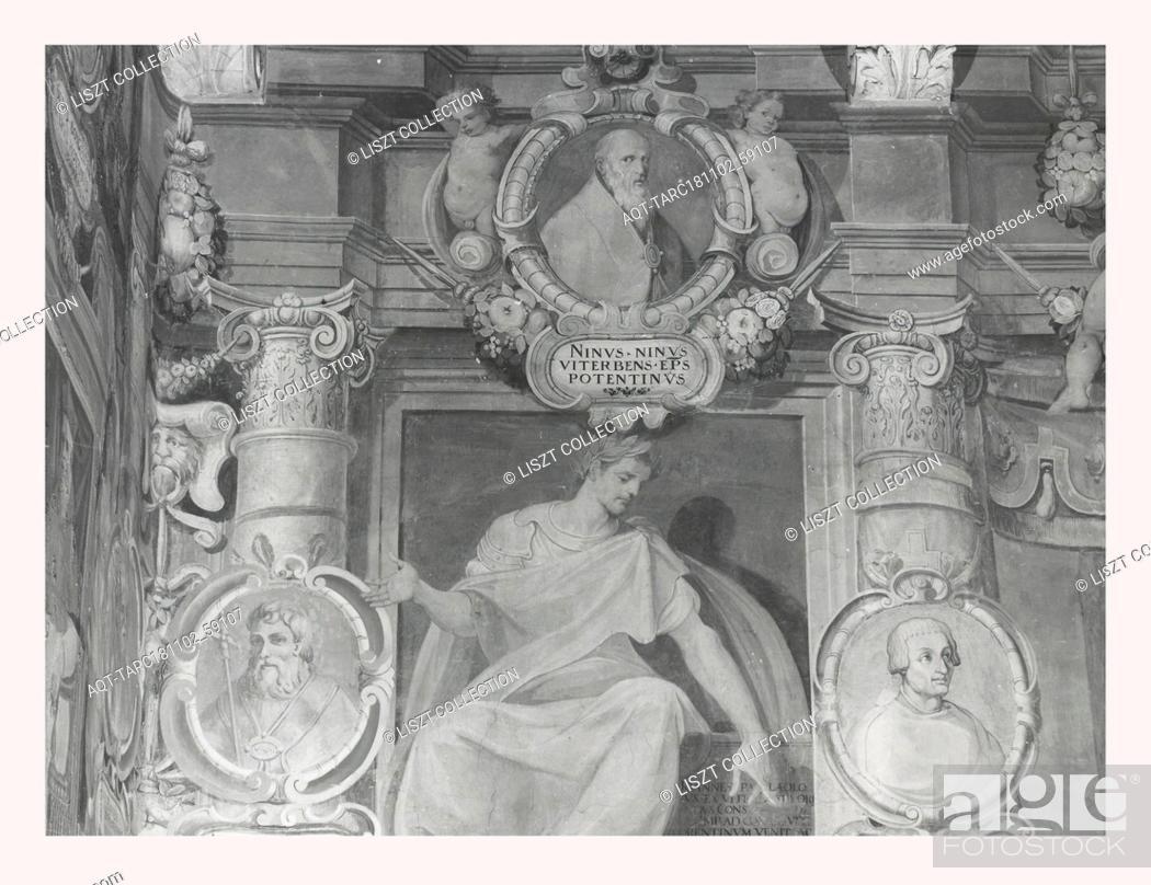 Stock Photo: Lazio Viterbo Viterbo Palazzo Comunale, this is my Italy, the italian country of visual history, Exterior views of Renaissance palazzo portico, portal fresco.