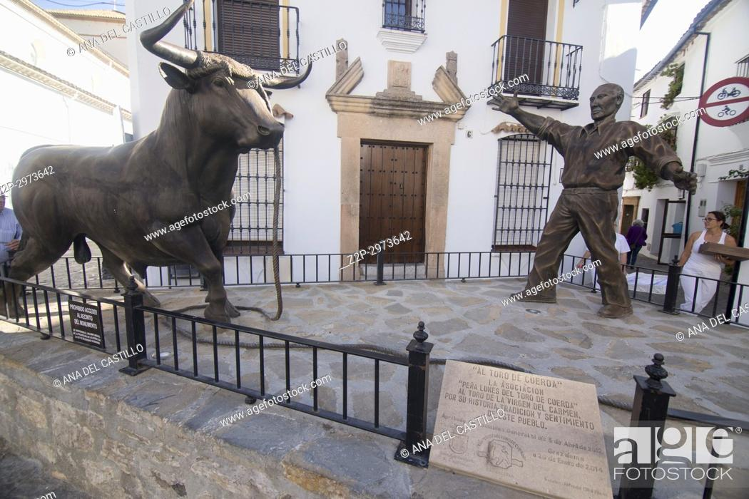 Stock Photo: Grazalema is one of the most beautiful villages in, Spain Cadiz mountains Andalusia Bull statues.