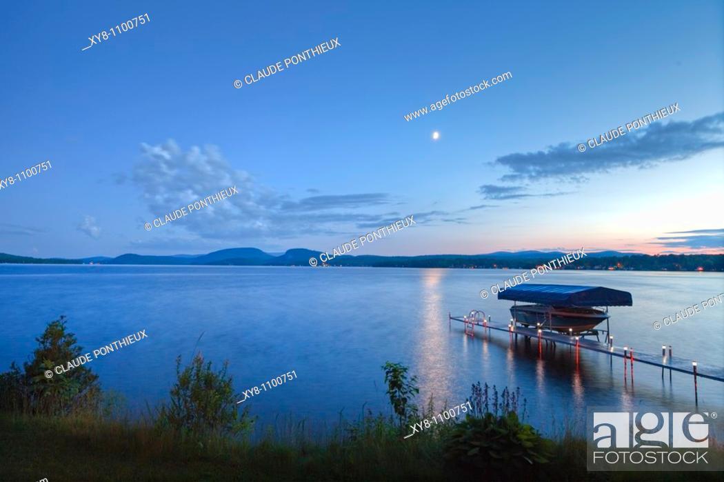 Stock Photo: Lake-at-Twilight, Québec, Canada.