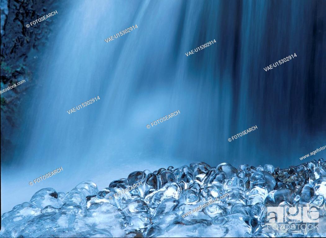 Stock Photo: Waterfall And Ice.