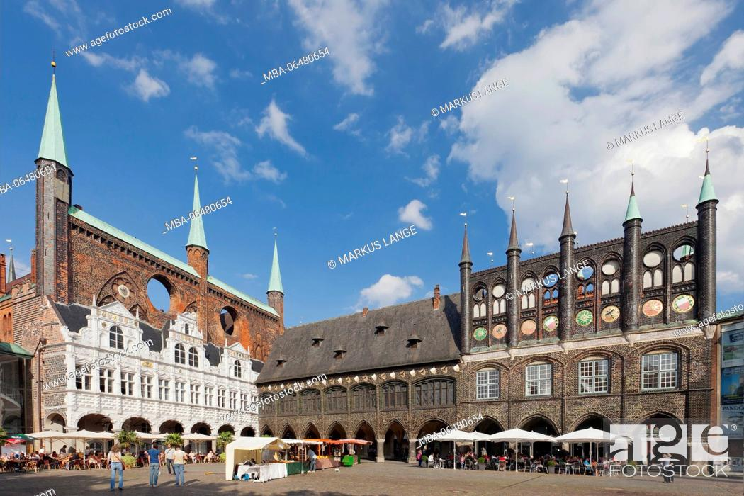 Stock Photo: City hall on the marketplace of Lübeck, Schleswig Holstein, Germany.