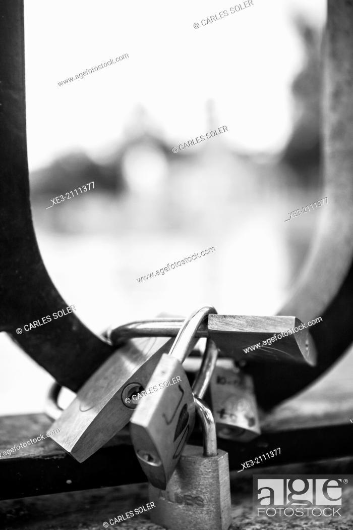 Stock Photo: Love padlocks, El Retiro, Madrid. Spain.