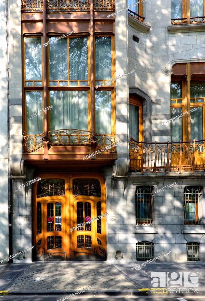 Stock Photo: Art Nouveau Solvay Hotel by Victor Horta, together with three other town houses of Victor Horta, including Horta's own house and atelier.