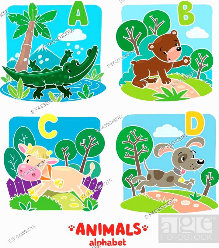 Stock Vector: Children vector illustration of funny alligator, bear, cow and dog. Animals zoo alphabet or ABC.