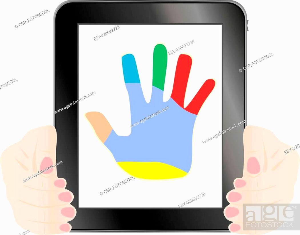 Stock Vector: Black vector tablet pc with hand on the screen.