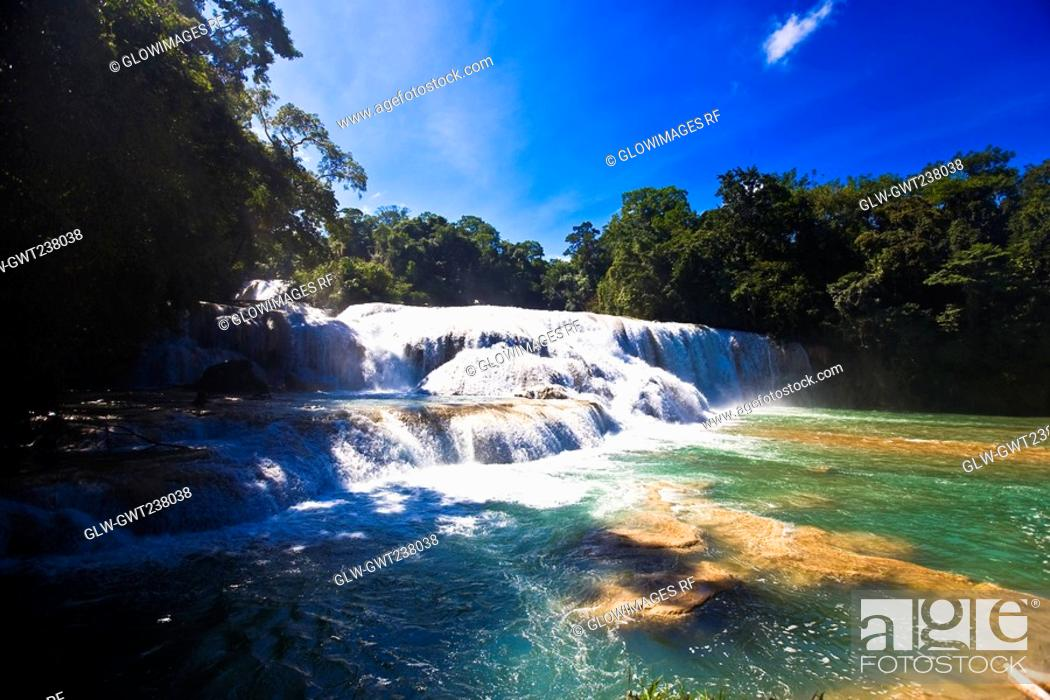 Stock Photo: Waterfall in a forest, Agua Azul Waterfalls, Chiapas, Mexico.