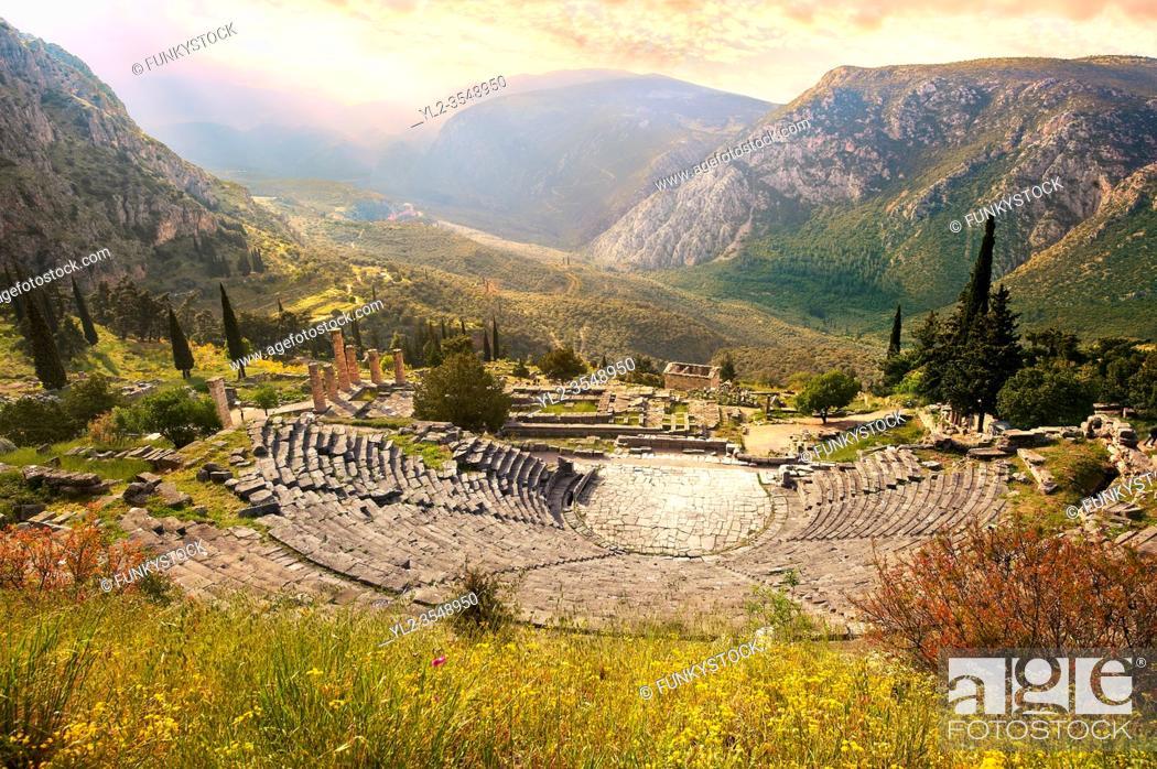 Stock Photo: Ancient Greek Theatre of Delphi, Delphi Archaeological site, Delphi, Greece.