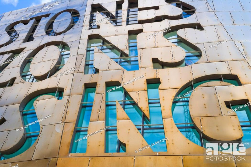 Stock Photo: Wales Millennium Centre. Canolfan Mileniwm Cymru. Home of Welsh National Opera. WNO. Cardiff Bay. Cardiff. Caerdydd. Wales. UK.