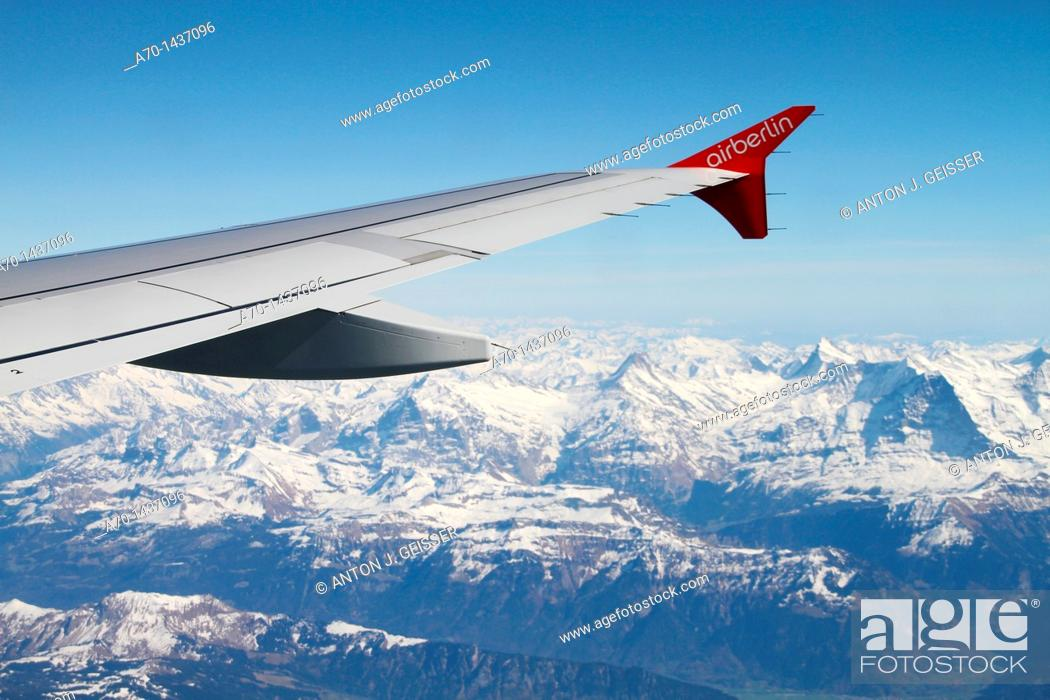Stock Photo: Wing of an air berlin boeing.