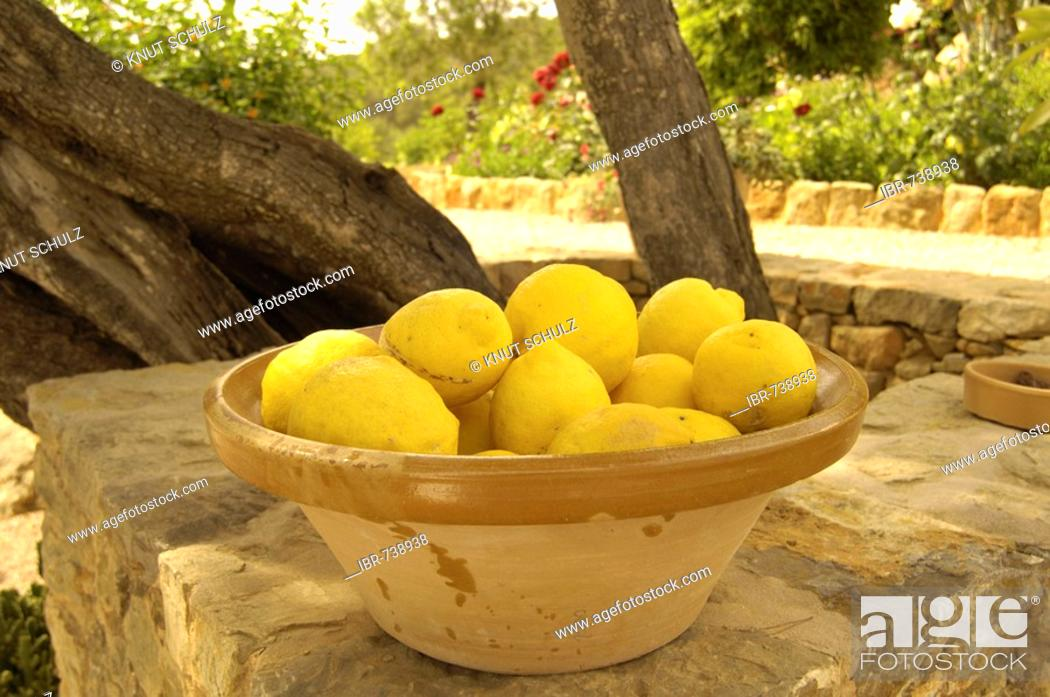 Stock Photo: Lemons in a clay bowl.