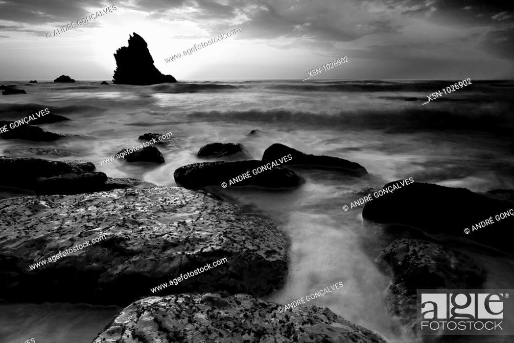 Stock Photo: Adraga Beach, Sintra, Portugal.