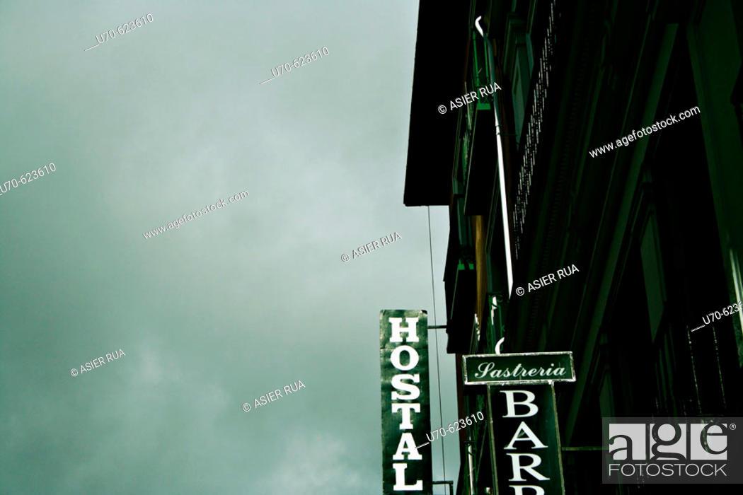 Stock Photo: Hostal sign. Madrid. Spain.