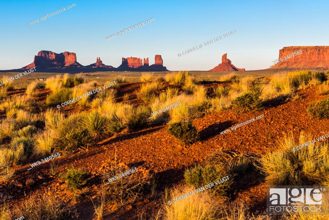 Stock Photo: Sunset over Monument Valley during summer with typical desert vegetation in the foreground.