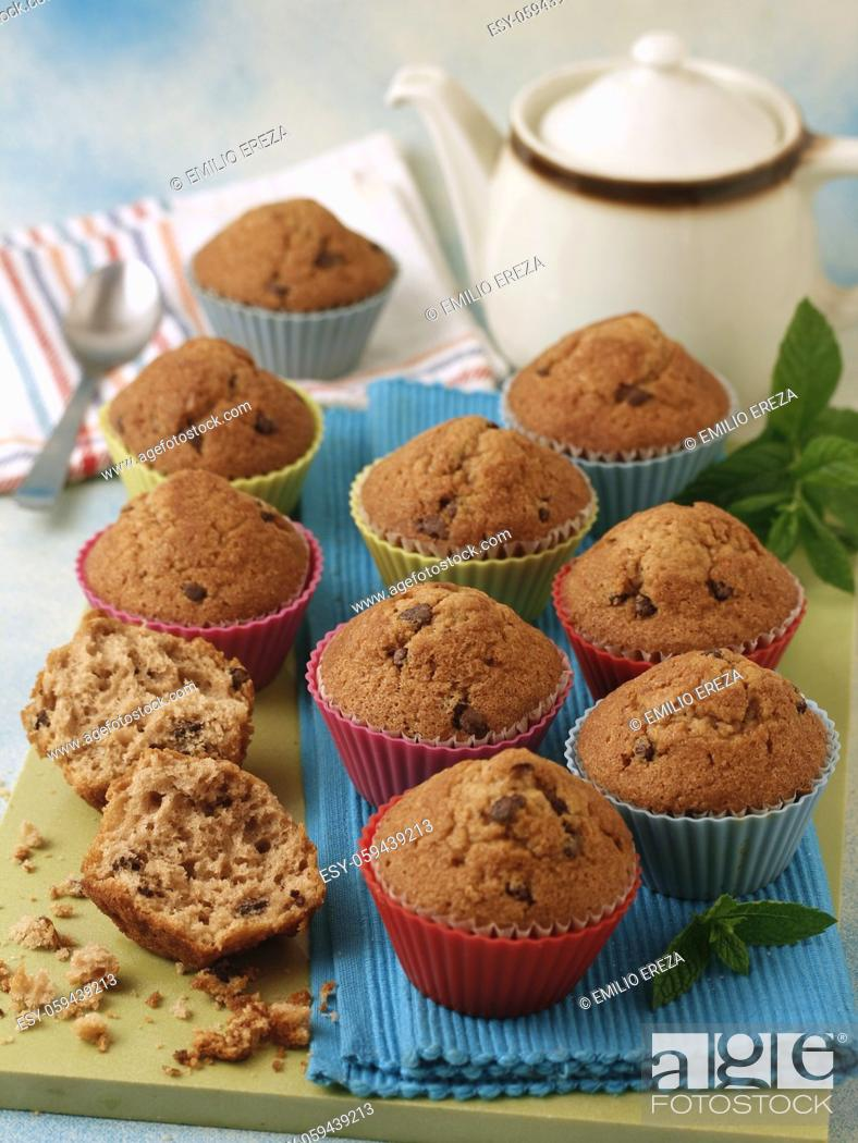 Stock Photo: Muffins with chocolate.