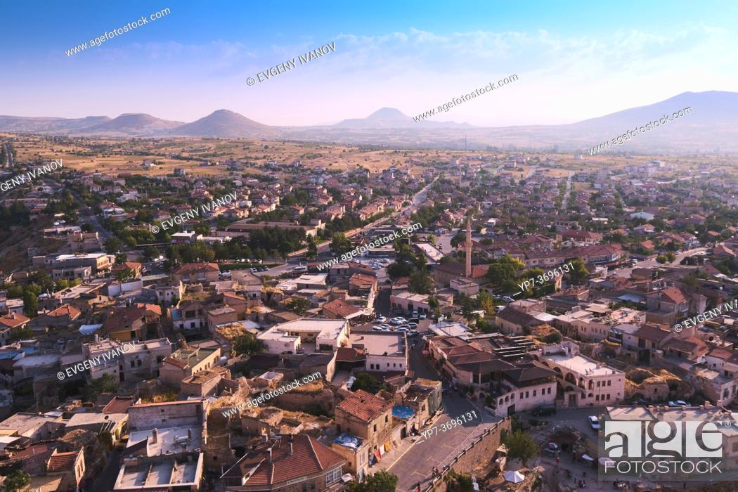 Stock Photo: Panoramic view of the Uchisar village and Cappadocia valleys and mountains.