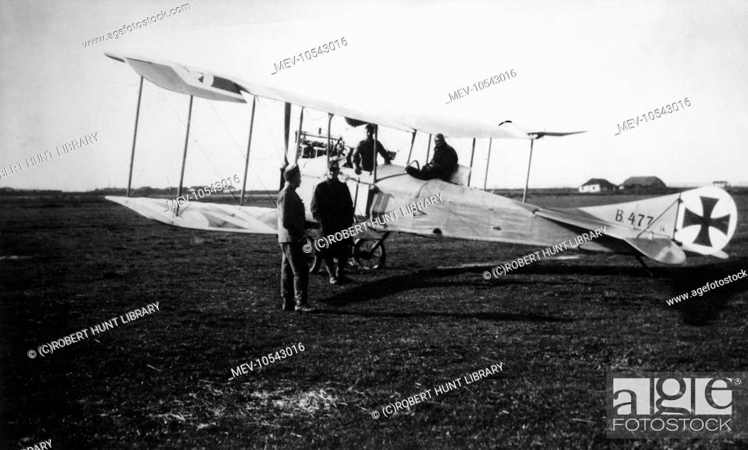 German crew with a two-seater biplane at an Austrian