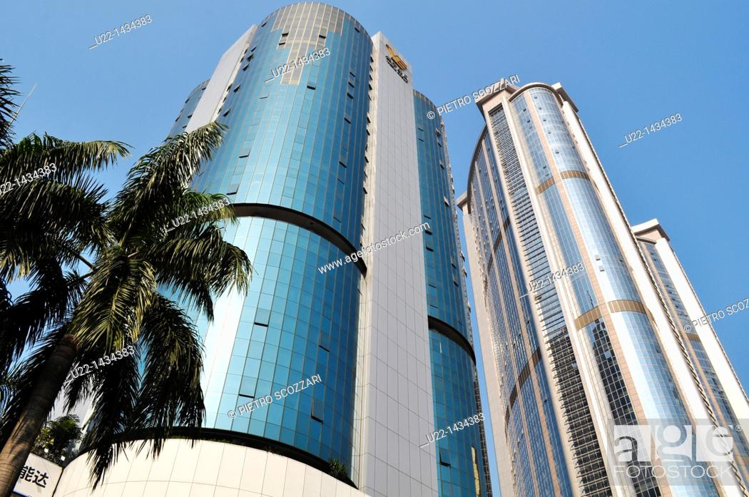 Stock Photo: Guangzhou (China): the City Development Plaza building and another skyscraper in Tianhe.
