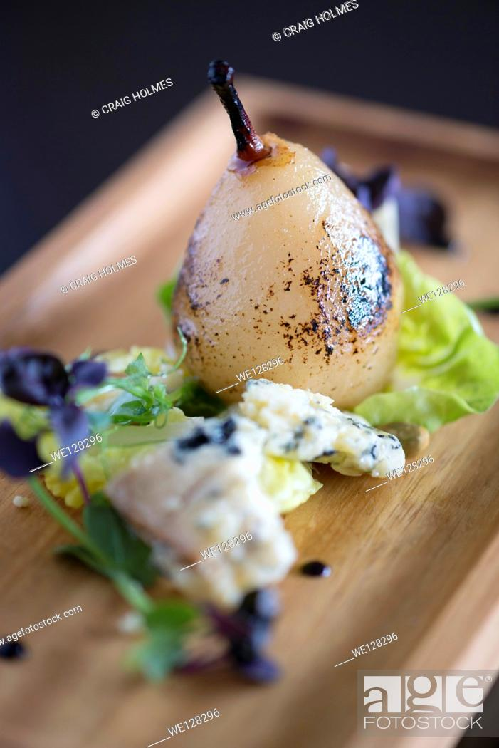Stock Photo: Pear and blue cheese afters from a fine dining restaurant.