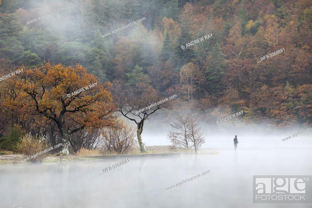Stock Photo: A fisherman near the north end of Crummock Water in the Lake District National Park, captured using a telephoto lens on a still misty morning in late October.