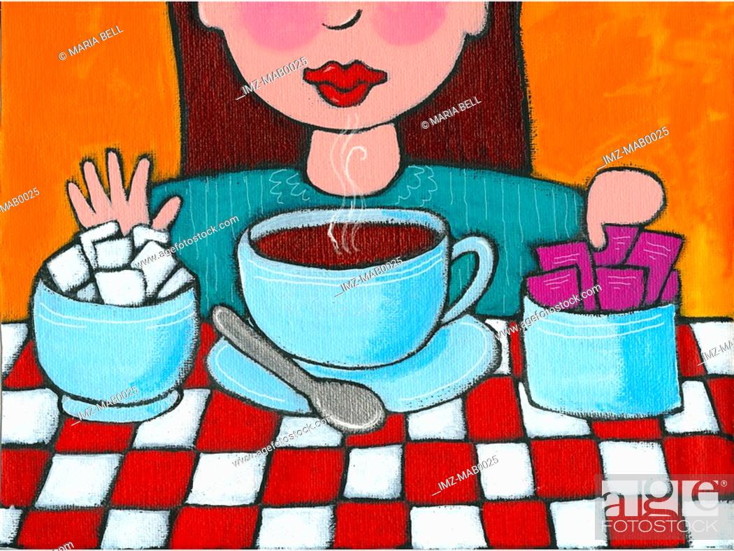 Stock Photo: A woman declining sugar and opting for sweetener for her coffee.