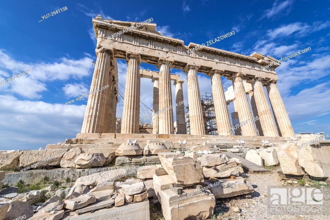 Photo de stock: Parthenon temple dedicated to the goddess Athena, , part of Acropolis of Athens city, Greece.