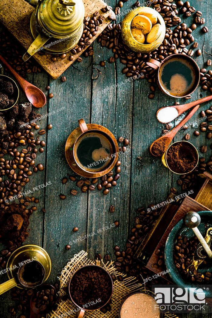 Stock Photo: An arrangement of Turkish coffee (seen from above).
