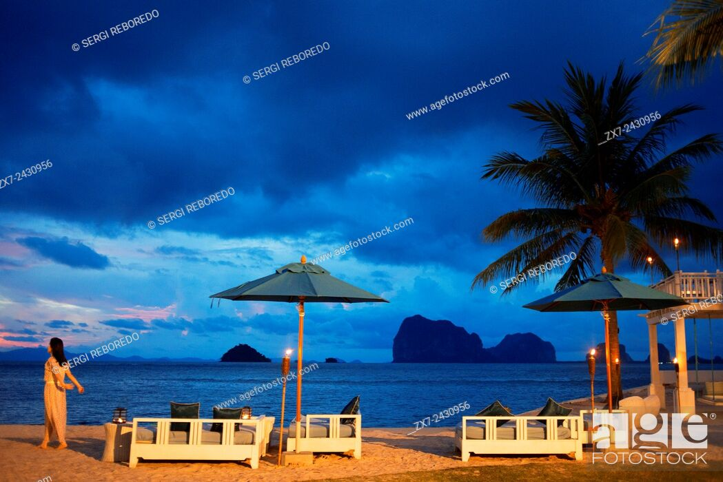Stock Photo: Restaurant on the beach in Anantara Si Kao Resort & Spa, south of Krabi, Thailand. Located on the soft white sands of Changlang Beach.