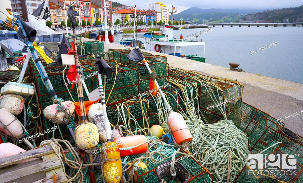Stock Photo: Ribadesella Asturias fishing tacke in port at Spain.