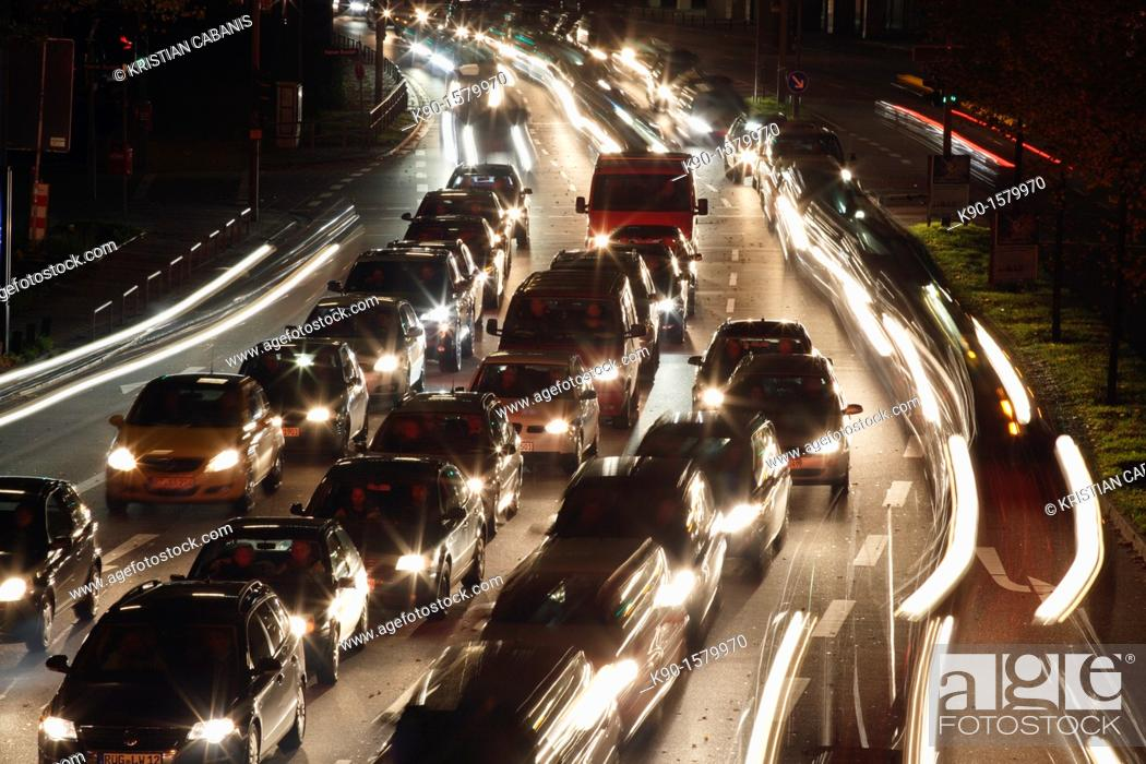 Stock Photo: Traffic jam on a six lane road in the heart of the city, Hamburg, Germany Europe.