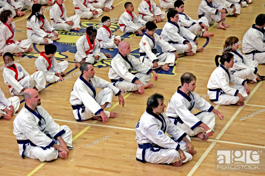Stock Photo: Karate class.