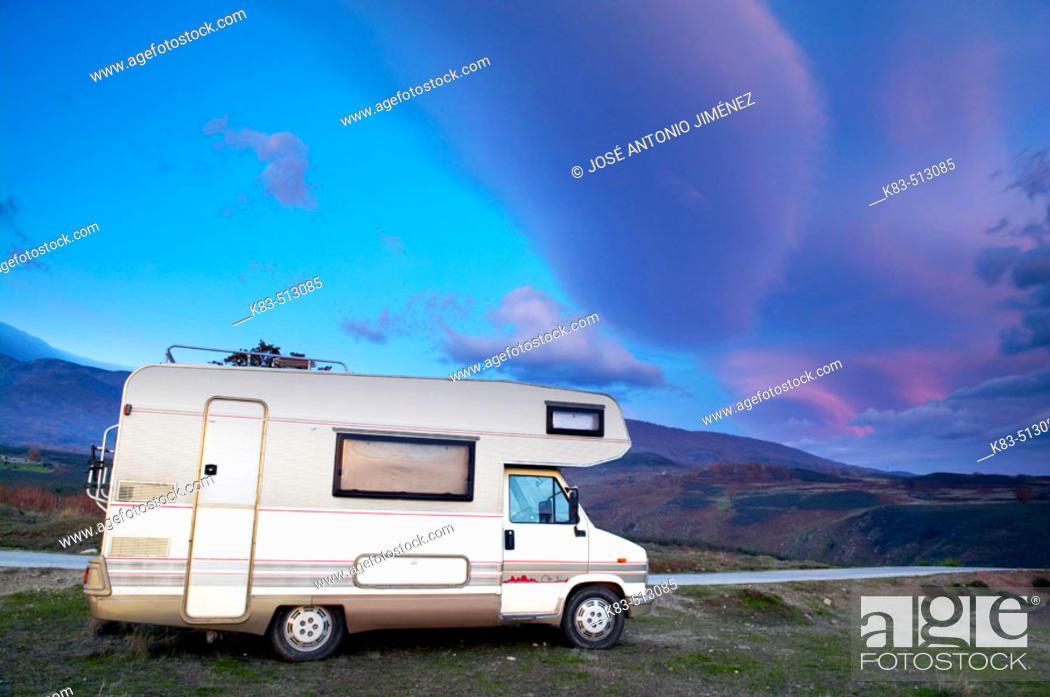 Stock Photo: Mobile home in Gredos. Ávila province, Castilla-León, Spain.