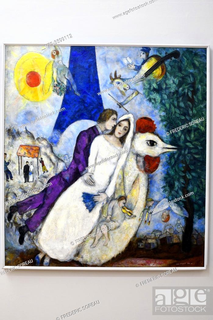 Imagen: Les Mariés de la tour Eiffel, 1938-1939, Marc Chagall, Georges Pompidou museum Paris France.
