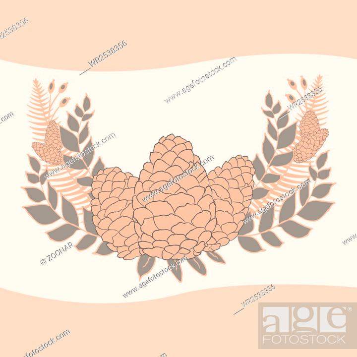 Stock Photo: Pine cones set. Frame wreath. Larch branches with cones. Invitation card. Wedding invitation. Greeting card. Pine decorative elements for your design.