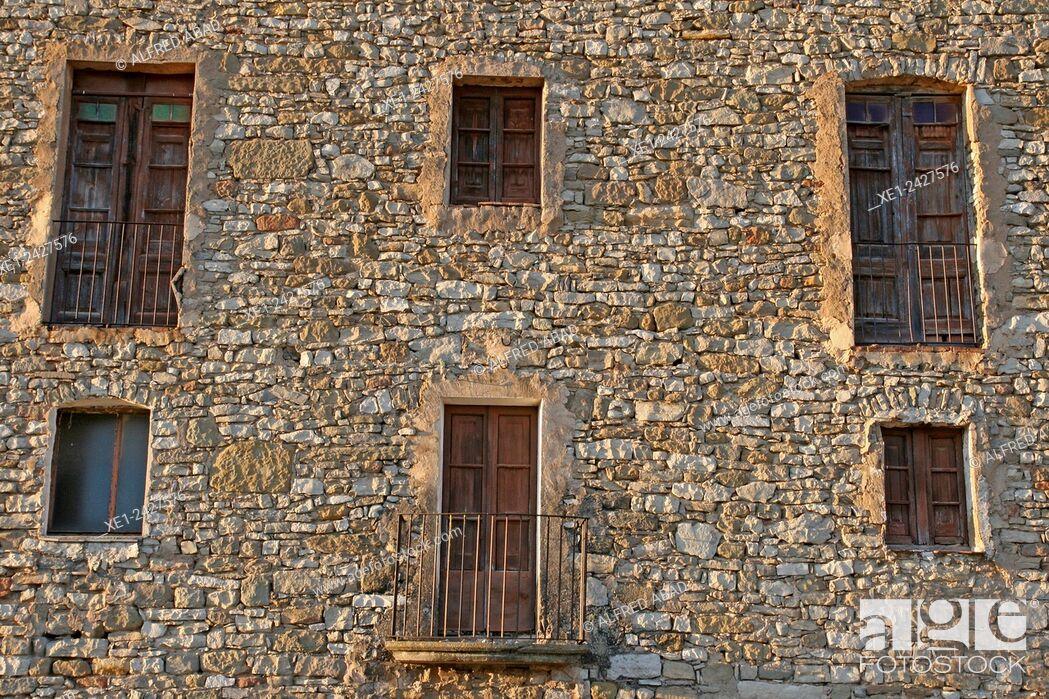 Stock Photo: Balconies, church of Santa Maria, Ivorra, La Segarra, Catalonia, Spain.