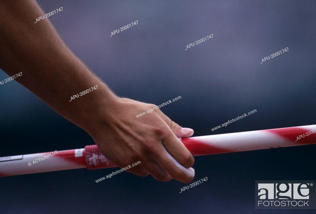 Stock Photo: Athlete holding javelin.