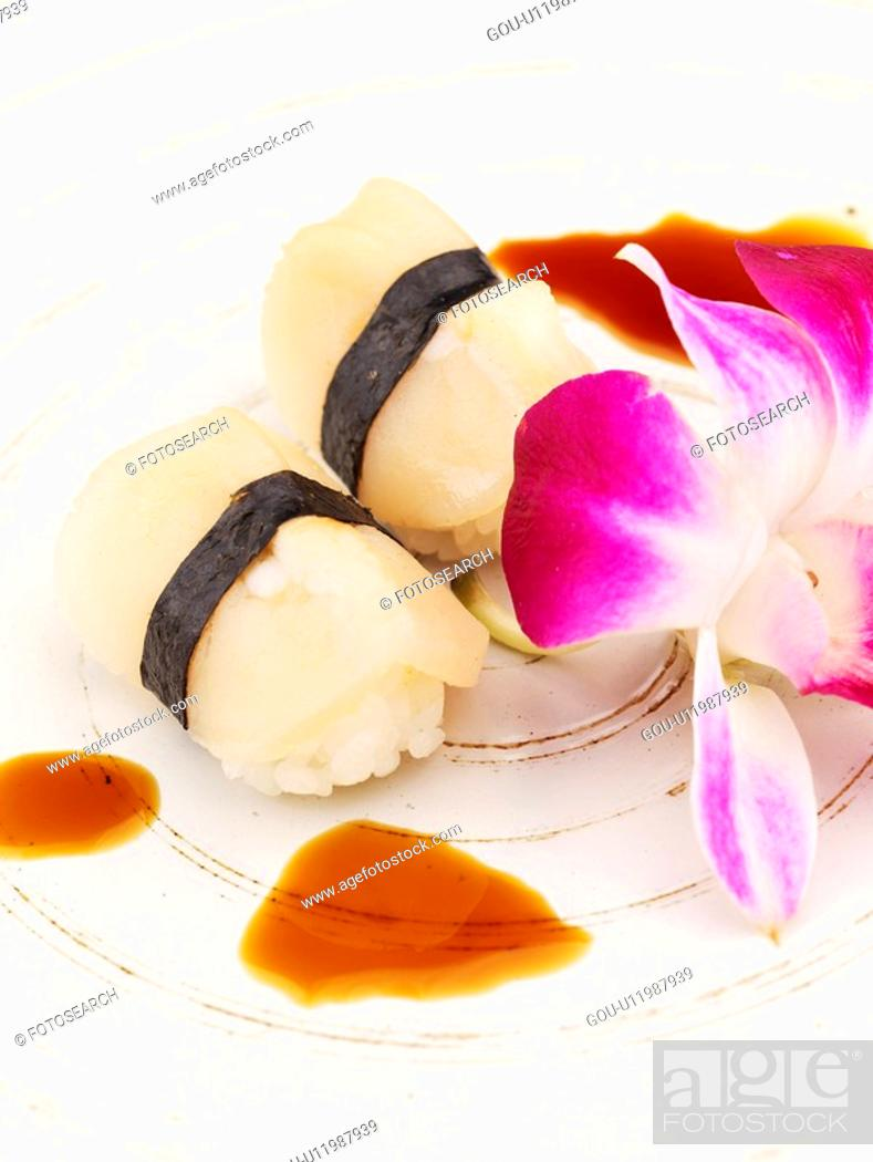 Stock Photo: petal, plate, clam sushi, decoration, food styling, food, sushi plate.