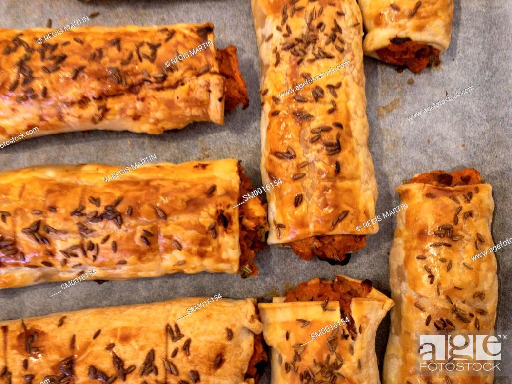 Stock Photo: Homemade vegetarian pastry rolls.