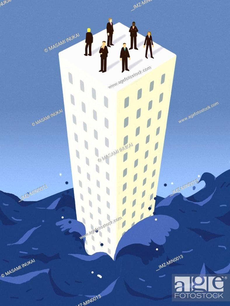 Stock Photo: Businessmen standing on top of a building surrounded by water.