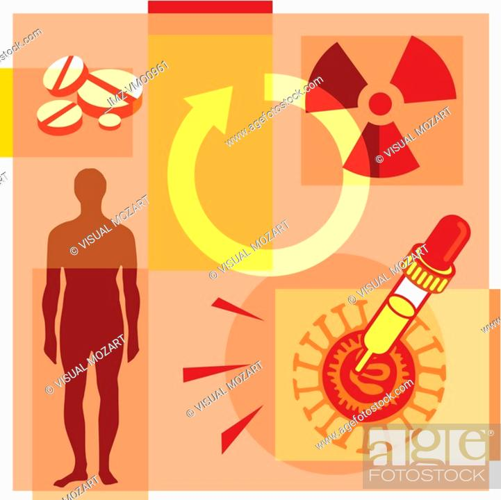 Stock Photo: Montage illustration about gene therapy containing a man, pills, a dropper, a radioactive symbol.
